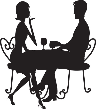 A couple in silhouette sitting at a table, conversing and drinking from stemmed glasses.