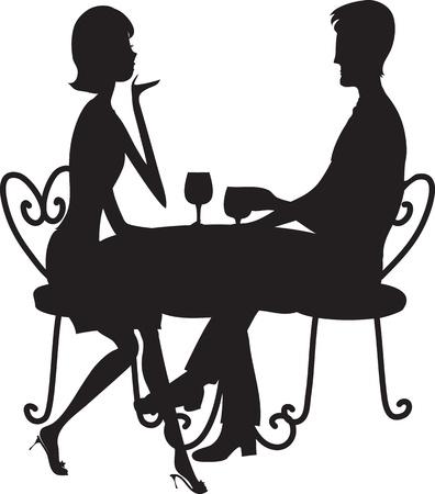 Un couple silhouette assise à une table, discutant et en buvant de verres à pied. Banque d'images - 17540813