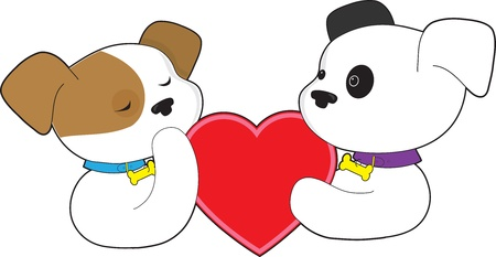 Two puppies, one with eyes closed and the other with eyes open, hold a large red heart between them. Stock Photo - 17540822