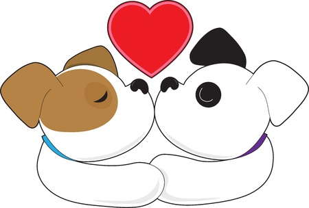 Two puppies, one with eyes closed and the other with eyes open, kiss with a red heart up above them  版權商用圖片