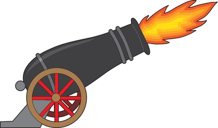 cannon: A black cannon attached to a wheeled carriage, belches fire from its muzzle. Stock Photo