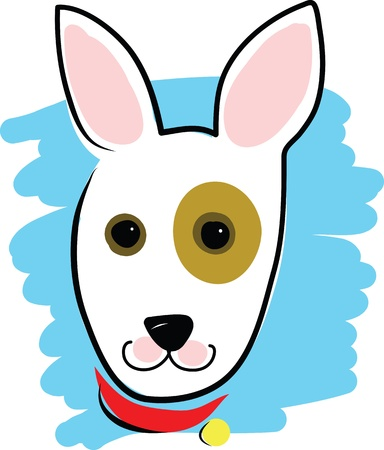 embellished: A simple outline drawing of a dogs head and collar, embellished with bright colours.