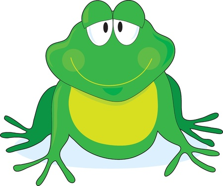 A simple outline of a smiling frog with large eyes, painted green and yellow. photo