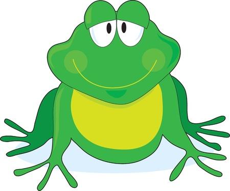 smiling frog: Un esquema simple de una rana sonriente con los ojos grandes, pintadas de verde y amarillo.
