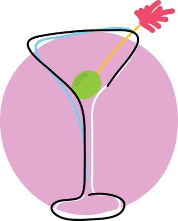 A stylized outline of a Martini glass with an olive on a swizzle stick, and a dash of colour for flair. Stock Photo - 17806699