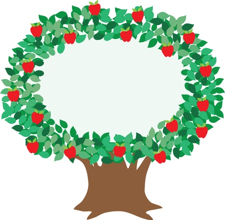 remarkable: An isolated, stylized illustration of an apple tree, designed to embellish and focus attention on your message.  Stock Photo