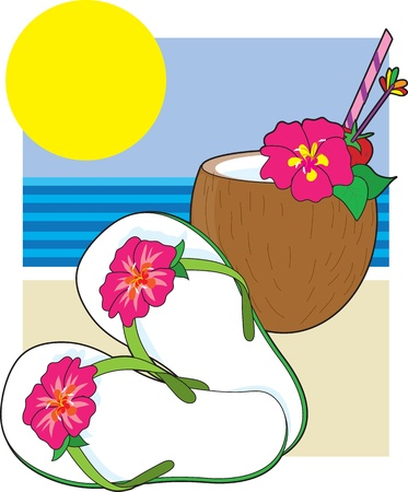 A collection of illustrations symbolizing the simple highlights of a tropical vacation. illustration