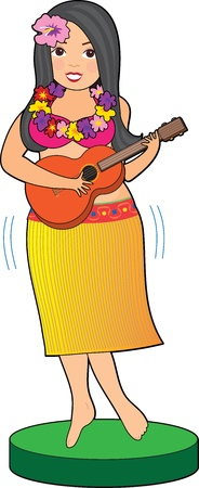 hawaiian lei: A Hula girl in a skirt with a Hibiscus in her hair, strums her guitar while her hips appear to be in motion.  Stock Photo