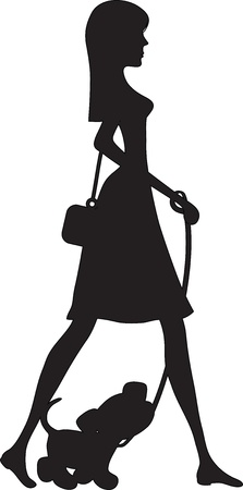 smartly: A silhouette in profile, of a smartly dressed young woman out for a stroll, with a young pup on a leash.