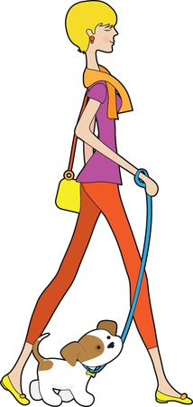 smartly: A smartly dressed young woman is out for a stroll, with a puppy on a leash.