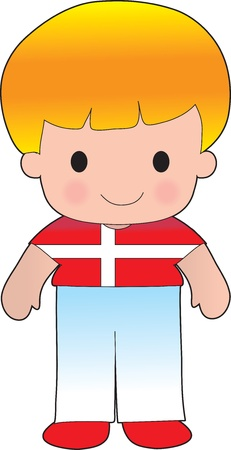 A smiling, well dressed young lad wears clothing representative of Denmark