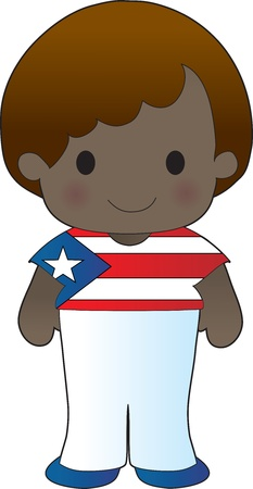 lad: A smiling, well dressed young lad wears clothing representative of Puerto Rico