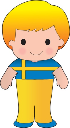 A smiling, well dressed young lad wears clothing representative of Sweden