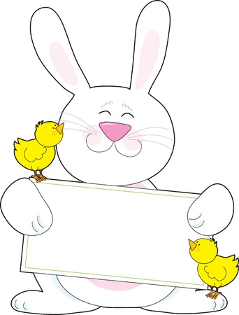 A white Easter bunny holds a blank message poster, while accompanied by two yellow baby chicks