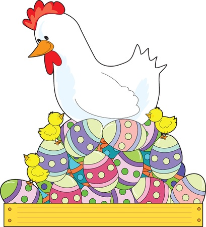 frolic: A white mother hen sits on a nest of painted Easter eggs, while her chicks frolic about  Stock Photo