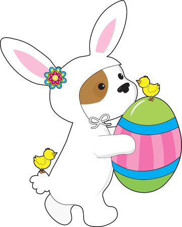 giant easter egg: A cute puppy in a bunny suit, followed by a couple of little chicks, holds a giant painted Easter egg  Stock Photo