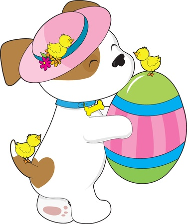 A cute puppy wearing an Easter hat, holds a giant painted egg while three little chicks