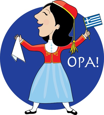 A lovely lady dancing in a Greek national costume. She is holding a Greek flag in her left hand and the traditional hankerchief for dancing in her right. Vector