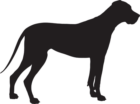 A Great Dane dog shown in black silhouette profile.