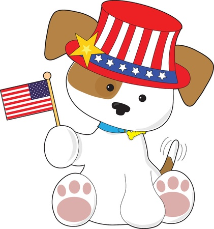 A cute puppy with tail wagging, wears an patriotic hat and waves a small American flag. photo