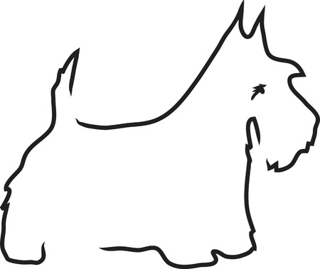 dog outline: A black outline of a Scottie dog in profile. Stock Photo