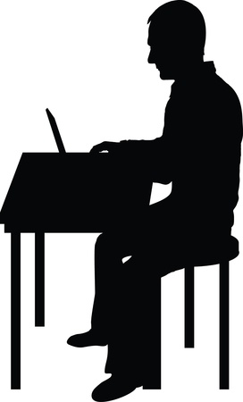 man with laptop: A silhouette of a man sitting at a laptop computer