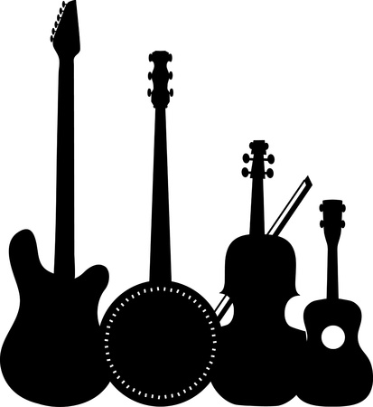 A group of silhouetted stringed instruments including an electric guitar, a banjo, a violin and a ukulele