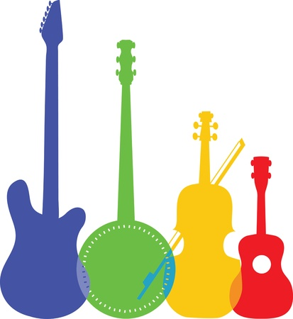 A group of silhouetted and colorful stringed instruments including an electric guitar, a banjo, a violin and a ukulele