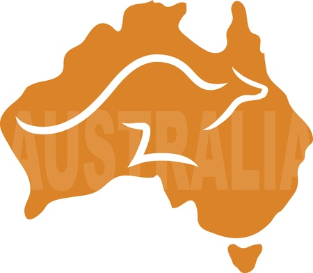 across: A stylized map of Australia with a kangaroo running across it - the word Aistralia is written on the map Illustration