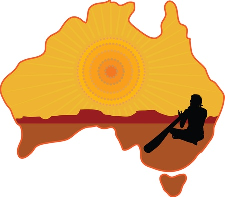 A stylized map of Australia with a silhouette of an aboriginal playing a didgeridoo