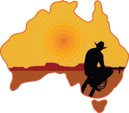 A stylized map of Australia with a silhouette of a rancher or cowboy sitting on a fence looking at the sunset Vector