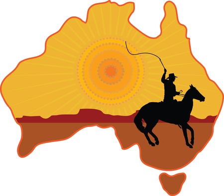 whip: A stylized map of Australia with a silhouette of a rancher or cowboy sitting on a horse with a whip in his hand