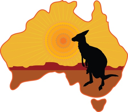 A stylized map of Australia with a silhouette of a kangaroo with a joey in its pouch Vector