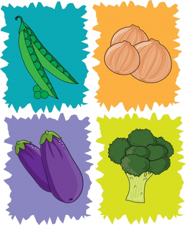 Stylized squares with peas,onions,eggplant and broccoli Illustration