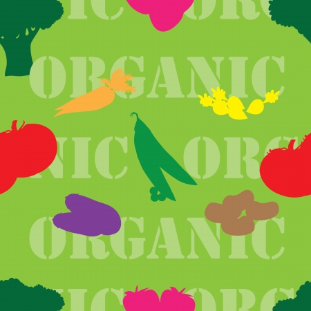 A seamless swatch featuring the word organic and silhouettes of brocolli,broccoli,carrots,eggplants,radishes,potatoes,strawberries and peas