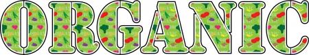 La parola biologico con frutta e verdura Archivio Fotografico - 19602746
