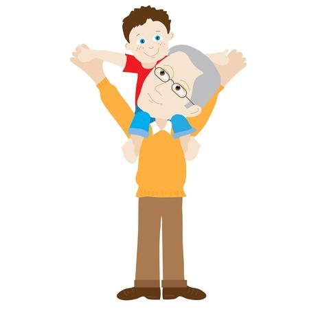 schulter: Grand-Vater mit einem Kind auf den Schultern Illustration