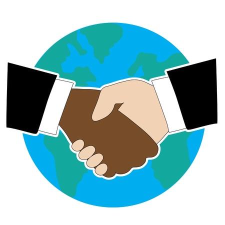 mani che si stringono: Stringe la mano - uno � nero americano e l'altro � bianco. C'� un globo in background