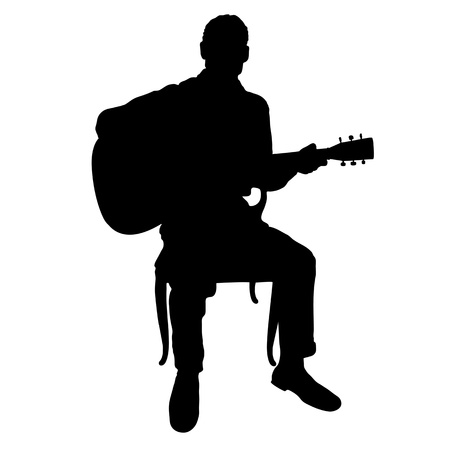 musician silhouette: Silhouette of a man playing an acoustic guitar Illustration