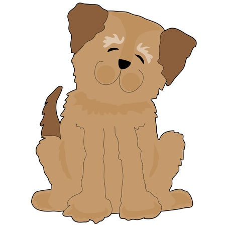 mutt: A funny shaggy dog is tilting his head and smiling