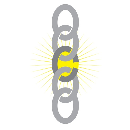 A chain showing a weak link with a yellow star background Vector