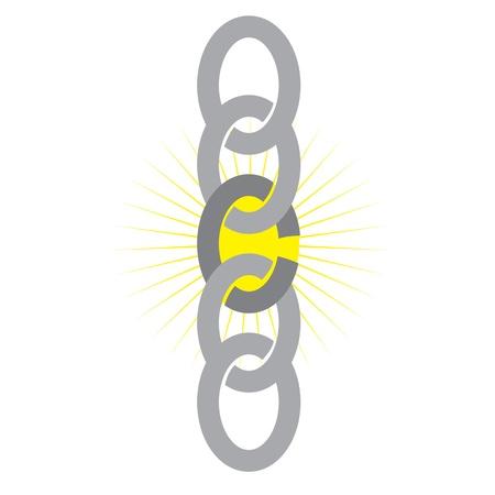 broken link: Una cadena que muestra un v�nculo d�bil con una estrella amarilla de fondo