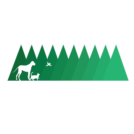 tress: A line of pine tress with the silhouettes of a big dog, a cat and a bird