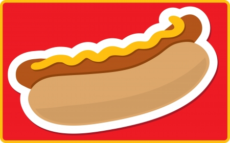 A stylized hot dog and bun on a red background