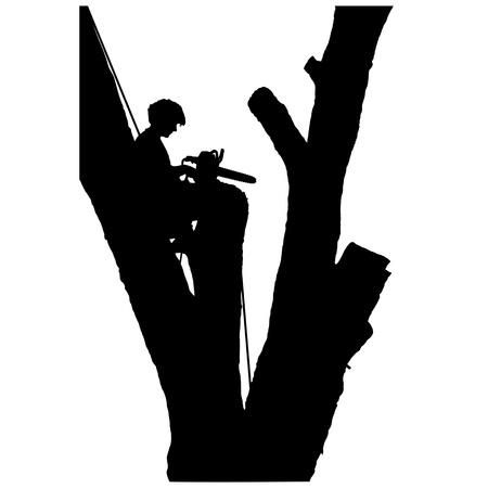 Een jonge man zit in een boom na het afsnijden van de takken - hij lijkt berouwvol Stock Illustratie