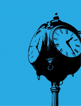 An old fashioned clock against a bright blue background