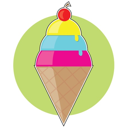 gelato: A colorful ice cream cone with three scoops and a cherryon top. This could also be sorbet,sherbert or gelato Illustration