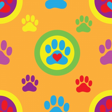 A seamless swatch of a colorful pawprint and heart pattern