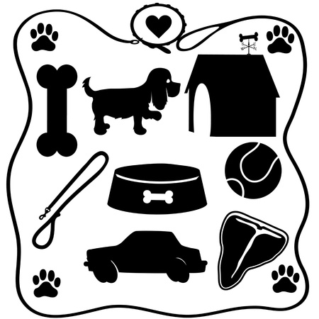 Assoted silhouettes of the things dogs love - a bone,food,steak,cars etc