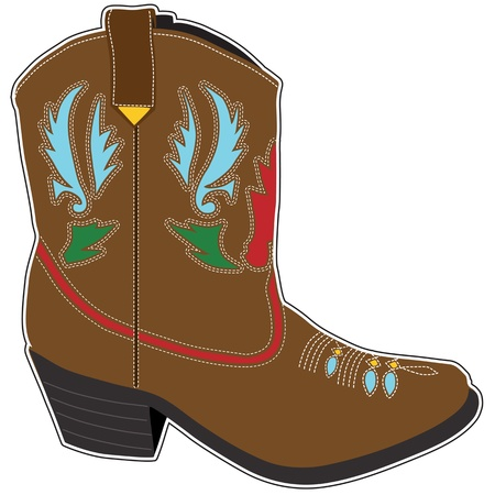 A  single brown short cowboy boot with a fancy design